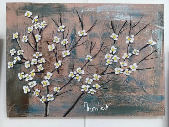 TABLEAU PEINTURE Fleur branche fleurie cerisier serenite Fleurs Acrylique  - Branche fleurie