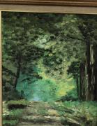 tableau paysages foret allee arbres vert : Allée forestiere