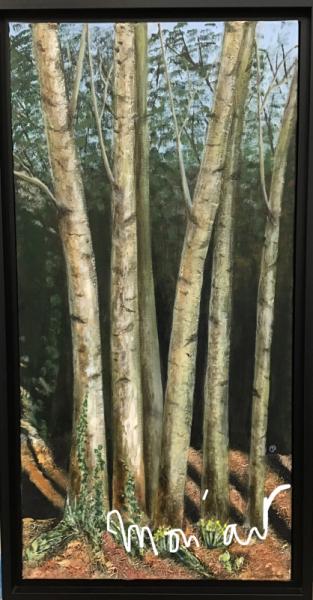 TABLEAU PEINTURE Arbres bouleaux bois peinture Paysages Acrylique  - Bouquet de bouleaux