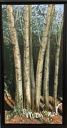 tableau paysages arbres bouleaux bois peinture : Bouquet de bouleaux