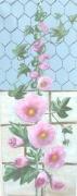 tableau fleurs rose fleurs tremieres jardin : roses trémières