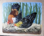 tableau animaux poules nature animaux coq : La basse-cour