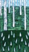 tableau paysages arbre mixte abstrait vert : arbres stylisés