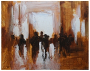 tableau abstrait : sortie a la gare