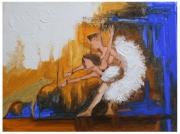 tableau abstrait : dance avec le chien d'or