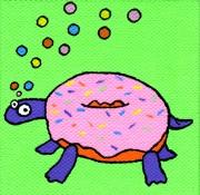 tableau personnages tortue donut mignon enfant : Tortue/Donut