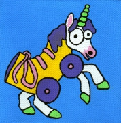 tableau personnages licorne roller mignon enfant : Licorne/Roller