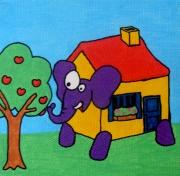 tableau animaux elephant maison enfant jardin : Eléphant maison