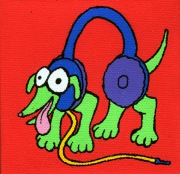 tableau personnages chien casque musique enfant : Chien/Casque