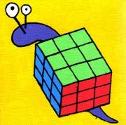 tableau personnages escargot rubik s cube mignon enfant : Escargot/Rubik's cube