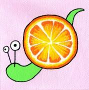 tableau personnages escargot orange rose mignon : Escargot/Orange