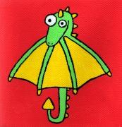 tableau personnages dragon parapluie mignon enfant : Dragon/Parapluie