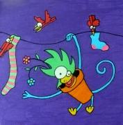 tableau animaux singe linge oiseaux enfant : Singe et corde à linge