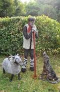 sculpture personnages berger loup jardin fil d acier : Je veille sur vous