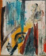 tableau abstrait : collages bois et papier