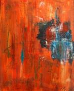 tableau abstrait : bleu sur fond orange
