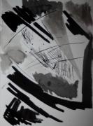 tableau abstrait chine encre noir et blanc : abstraction encre de Chine