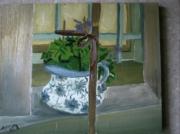 tableau nature morte fenËtre geranium pot ceramique : jardin d'Elisabeth
