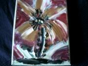 tableau abstrait fleur or rouge blanc : FLEUR AU COUTEAU