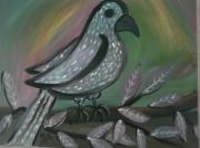 tableau animaux stylise imaginaire naif oiseau : L'oiseau