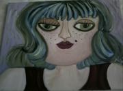 tableau personnages debardeur rouge cheveux gris et bleu portrait imaginaire : NADIA