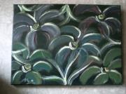 tableau abstrait fond gris fleurs stylisees abstrait naif : ARABESQUES BLANCHES