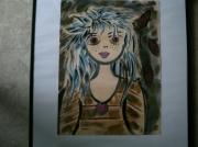 tableau personnages visage cheveux bleus flammes feminin : Jeune fille aux cheveux bleus