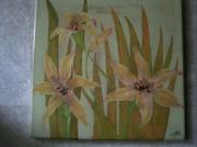 tableau fleurs lys stylisees jaune fleurs : LES LYS JAUNES