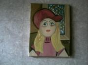 tableau personnages casquette rouge cheveux blonds vitrail : Fille à la casquette