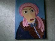tableau personnages foulard portrait femme col en fourrure : Femme au foulard