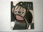tableau abstrait abstrait cert noir visages stylises : LES ENTRECROISES