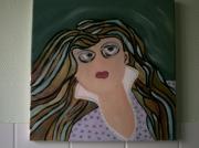 tableau personnages cheveux longs corsage couleurs : FEMME AU CORSAGE MAUVE