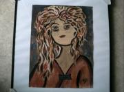 tableau personnages visage brun jeune fille cheveux longs : Jeune fille aux cheveux roux