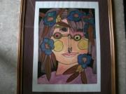 tableau sport visage lunettes anglaise rose : Lili