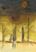 dessin abstrait : Ombre predue forêt jaune