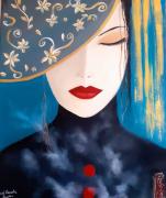 tableau personnages asiatiques femmes regard bleu fumee opium : Fumee