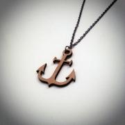 """bijoux marine collier ancre bois artisanal : Collier en bois """"Ancre"""""""