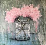 tableau fleurs fleurs : Hortensias Roses