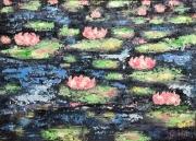 tableau fleurs fleurs : Jardin de Nénuphars