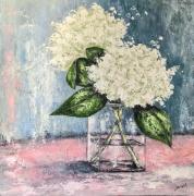 tableau fleurs fleurs : Bouquet d'Hortensias Blancs