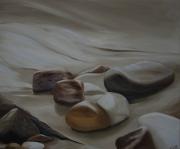 tableau paysages galet gros plan riviere : Les galets