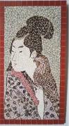 artisanat dart personnages tableau emaux japonaise : Japonaise au faucon