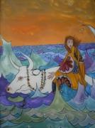 tableau personnages mythologie grecque peinture sous verre europe crete : Europe - Peinture sur verre inversé