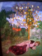 ceramics pottery scene de genre orientalisme peinture sous verre andre sureda : Suréda sous verre - la belle endormie