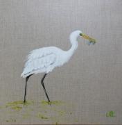 tableau animaux aigrette oiseau marais decoration : n °18 GRANDE AIGRETTE A LA PECHE