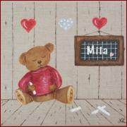 tableau personnages nounours ourson decoration enfant : n°13 TROIS COEURS ( sur commande)