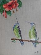 tableau animaux oiseau colibri hibiscus lin : COLIBRIS 2