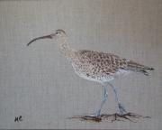 """tableau animaux oiseau courlis lin decoration : """" LE COURLIS"""""""
