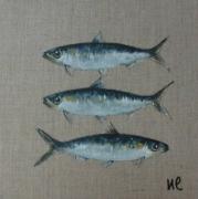 tableau poisson sardine mer decoration : TROIS SARDINES
