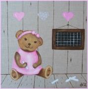 tableau animaux ourson nounours bebe deco enfant : n° 6  TROIS P'TITS COEURS( sur commande)